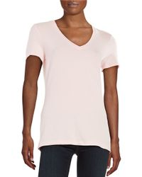 Lord & Taylor | Natural Petite Solid V-neck Tee | Lyst
