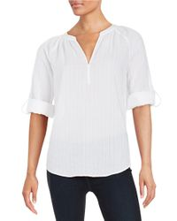 Lord & Taylor | White Petite Textured Cotton Top | Lyst
