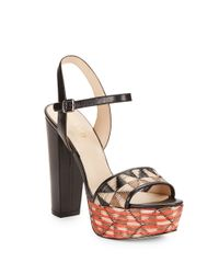 Nine West | Black Carnation Leather Platform Sandals | Lyst