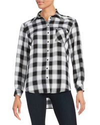 Kensie | Black Monochrome Check Button-front Shirt | Lyst