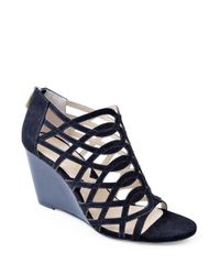 Adrienne Vittadini | Black Andre Suede Wedge Sandals | Lyst