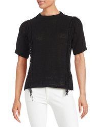 MICHAEL Michael Kors | Black Short Sleeve Fringe Top | Lyst