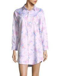 Lauren by Ralph Lauren - Purple Cotton Floral-print Nightshirt - Lyst