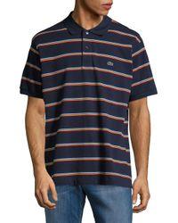 Lacoste - Blue Short-sleeve Mini Striped Regular-fit Pique Polo for Men - Lyst