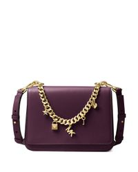 MICHAEL Michael Kors - Purple Sloan Charm Leather Shoulder Bag - Lyst