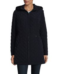 Laundry by Shelli Segal | Blue Faux Fur-trimmed Quilted Jacket | Lyst