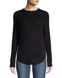 Lord & Taylor - Black Long Sleeve Curved Hem Ribbed Sweater - Lyst
