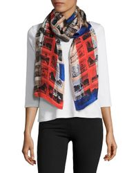 Vince Camuto | Red Retro Photos Silk Scarf | Lyst
