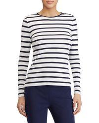 Lauren by Ralph Lauren - Blue Striped Button-shoulder Top - Lyst