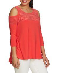 Chaus - Red Embellished Cold-shoulder Top - Lyst
