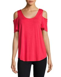 Lord & Taylor - Red Knit Cold-shoulder Top - Lyst
