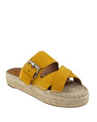 Marc Fisher | Yellow Venita Suede Espadrille Slide Sandals | Lyst