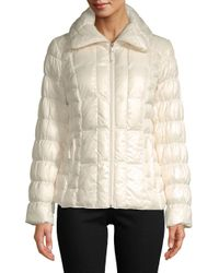 Kenneth Cole - Natural Ruched Filled Puffer Jacket - Lyst