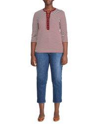 Lauren by Ralph Lauren - Red Lace-up Striped Cotton Top - Lyst