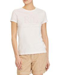 Lauren by Ralph Lauren - White Studded Logo Tee - Lyst