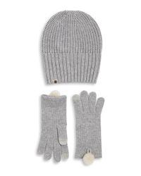 Ugg - Gray Two-piece Rib-knit Hat And Gloves Set - Lyst