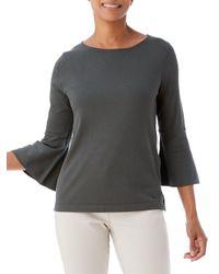 Olsen - Gray Bell-sleeve Sweater - Lyst