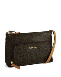 Calvin Klein   Brown Logo Crossbody Bag   Lyst