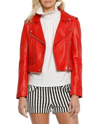 Walter Baker - Red Liz Leather Moto Jacket - Lyst