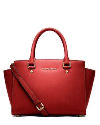MICHAEL Michael Kors | Red Selma Leather Medium Zip Satchel | Lyst