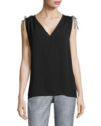 Lord & Taylor - Black Solid V-neck Blouse - Lyst