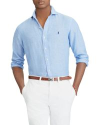 Polo Ralph Lauren - Blue Slim Fit Linen Sport Shirt for Men - Lyst