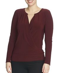Chaus - Purple Long Sleeve Banded Wrap Top - Lyst