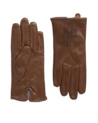 Lauren by Ralph Lauren - Brown Logo Peforated Leather Gloves - Lyst