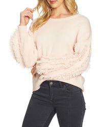 1.STATE - Multicolor Crewneck Fringe Sleeve Sweater - Lyst