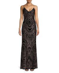 Jump - Black Embossed Floor-length Gown - Lyst
