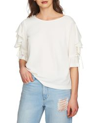 1.STATE - White May Ruffled Tie-sleeve Blouse - Lyst