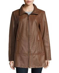 Jones New York - Brown Plus Size Zip-front Leather Jacket - Lyst