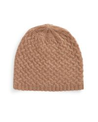 Lord & Taylor - Brown Cashmere Knit Beanie - Lyst