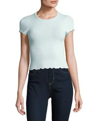 Lord & Taylor - Blue Ribbed Cropped Top - Lyst