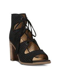 Franco Sarto - Black Honolulu Cutout Lace-up Sandals - Lyst