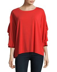 Lord & Taylor - Red Ruffled Sleeve Top - Lyst