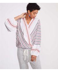 Lou & Grey - Multicolor Dotted Line Wrap Poet Blouse - Lyst
