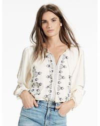 Lucky Brand - Multicolor Vintage Embroidered Peasant Top - Lyst