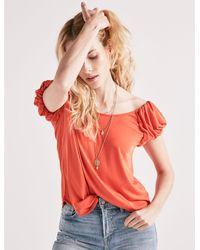 Lucky Brand - Orange Puff Sleeve Tee - Lyst