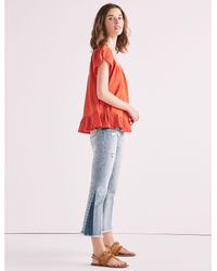 Lucky Brand - Textured Woven Mix Media Top - Lyst