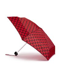 Lulu Guinness - Red And Black Lips Grid Tiny Umbrella - Lyst