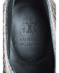 "Brunello Cucinelli - Black Graphite Pebbled Leather ""lug Sole"" Booties - Lyst"