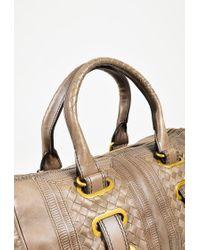 Bottega Veneta - Brown Leather Woven Trim Gold Tone Satchel Bag - Lyst