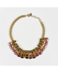 Elizabeth Cole - Gold Tone Pink & Yellow Crystal Encrusted Collar Necklace - Lyst