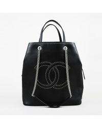 Chanel - Cruise 2018 Black Calfskin Enchained 'cc' Large Eyelet Shopping Tote Bag - Lyst