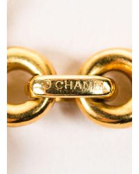 Chanel - Metallic 18k Yellow Gold And Multicolor Cabachon Gemstone Short Chain Necklace - Lyst