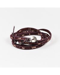 Chan Luu - Purple Leather Sterling Silver Crystal Beaded Wrap Bracelet - Lyst