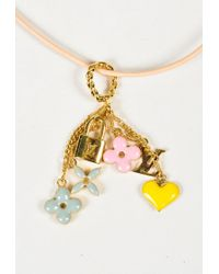 "Louis Vuitton - Metallic Pink Leather Gold Plated Metal ""sweet Monogram Pendant"" Necklace - Lyst"
