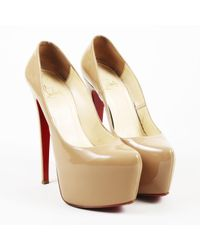 "Christian Louboutin - Natural Beige Patent Leather ""daffodile"" 160 Platform Pumps - Lyst"
