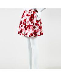 Giambattista Valli - Red & Pink Silk Floral Print Pleated Mini Skirt Sz 38 - Lyst